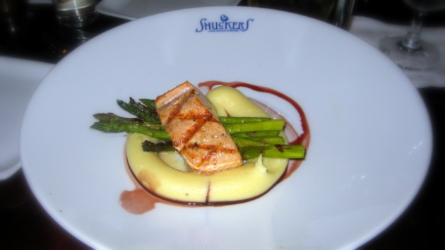 Wild Coho salmon with whipped potatoes and asparagus at Shuckers